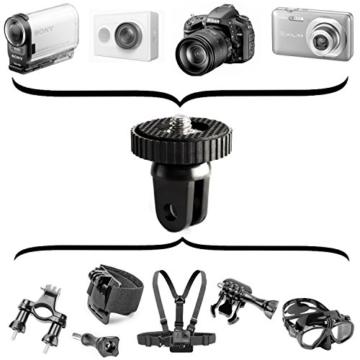 Fototastix 1/4 Zoll Gewinde Adapter für GoPro und Sony Stativgewindeadapter Actioncam Adapter (Gummierte Oberfläche) Schwarz -