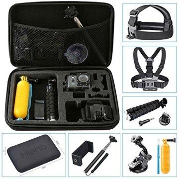 Hieha 10 in 1 Zubehör Set Action Kamera Zubehör-Kit für GoPro Hero Session / 5 Hero 1 2 3 3+ 4 5 SJ4000 5000 6000 mit Brustgurt Kopfband Schwimmer Handgriff Dreibeinstativ usw. -